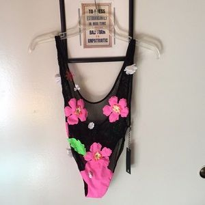 Lee + Lani hibiscus one-piece swimsuit NEW